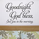 Bedroom wall quote sticker - 'Goodnight, God Bless' - WA285X LARGE / LIGHT BLUE