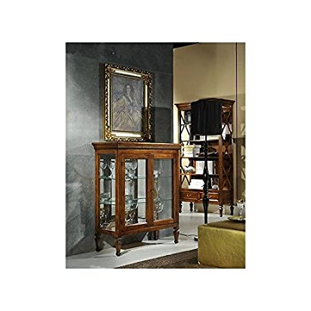 Wood with Inlay and Glass Display Cabinet with 2Doors Library–Flip as photo