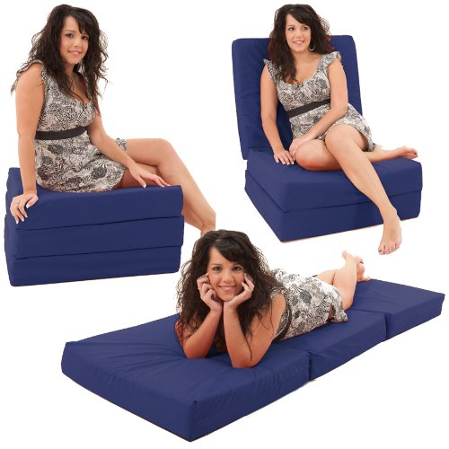 Gilda ® Adult Chair Bed / Day Bed - NAVY Hardwearing & Washable 100% Cotton