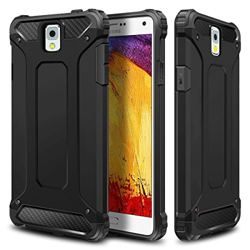 Galaxy Note 3 Case,Wollony Rugged Hybrid Dual Layer Hard Shell Armor Protective Back Case Shockproof Cover for Galaxy Note 3 Case - Slim Fit - Heavy Duty - Impact Resistant Bumper(Black) (Bumper Galaxy Note 3 compare prices)