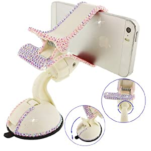 Ancerson Luxury Pink Transparent Colorful Bling Handmade Crystal Diamond Rhinestones Universal Multi-function Portable 360 Degree Rotating Suction Cup Mini Desk Car Mount Clip Stand Holder for Smartphones Mobile Phones(Not bigger than Galaxy Mega 6.3): iPod Touch 2 3 4 5, iPhone 3 3G 3S 4 4S 5 5C 5S 6 6Plus, Samsung Galaxy S4 I9500/ S4 Mini/ S5 I9600/ S3 I9300/ S2/ Grand 2/ Ace2/ Note 2 N7100/ Note 3 N9000/ Note 4 N9100/Note Edage/Mega 6.3 I9200/ Mega 5.8 I9152, LG Nexus 5, LG G3/G3 Mini/G2/ G2 mini/ G Pro 2/ LG F70/ LG Optimus G Pro E980 F240 E986 F240k, Nokia Lumia 920 928 520 720 1020 1520, Sony Xperia L36h/ L39h/ Z1S/ Z2/ E1/Z3, Motorola Moto G/ X/G2, Blackberry Z10/ Z30/ Q10, HTC One M7/ M4 Mini/ X/ Max/ M8, Huawei Ascend P6 Etc (White)