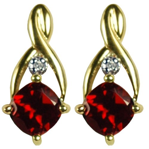 9CT Yellow Gold Garnet and Diamond Crossover Stud Earrings