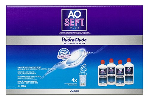 Aosept Plus mit Hydraglyde Systempack, 4 x 360 ml