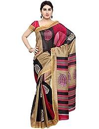 Oomph! Bhagalpuri Silk Geometric Printed Saree - Sandcastle Beige & Magenta