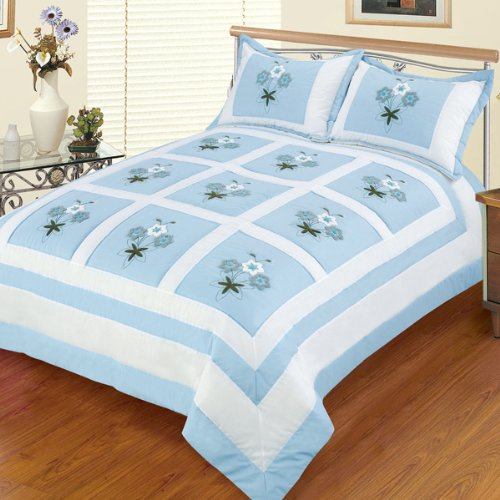 Blancho Bedding - [Sky Blue Fantasy] Hand-Appliqued Quilt Set with 25.3 OZ filling (Full/Queen Size)