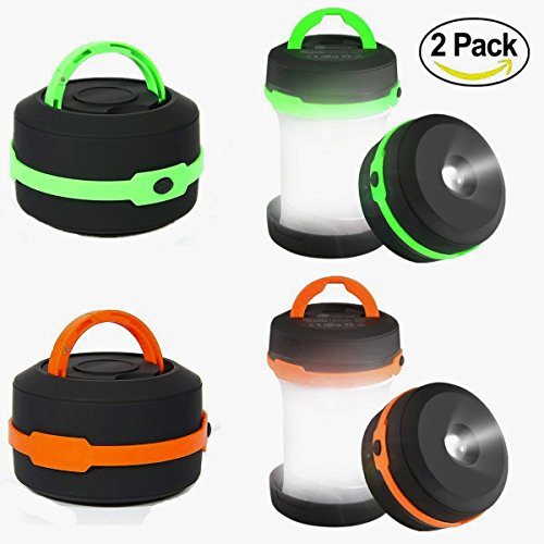 Camping-Lantern-2-Pack-Led-Lantern-Mini-LED-camping-lights-flashlightsCollapsible-Portable-Waterproof-Tent-Light-Emergency-light-GreenOrange-By-LighTouch