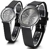 JewelryWe Quartz Leisure Wrist Watch Black Silicone Strap Black Analog Dial Chronograph Watch (a Pair)