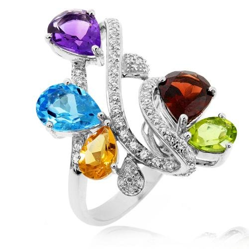 LenYa Specials - Glamorous, Rhodium Plated 925 Sterling Silver Ring with AAA Grade Blue Topaz, Amethyst, Citrine, Garnet, Peridot and CZ, Ring Size 7.25