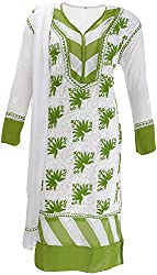 AKS Lucknow Women's Regular Fit Kurti (TK-35_46, WHITE , 46)