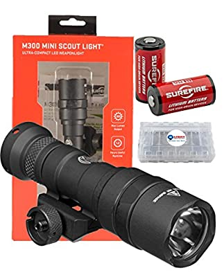 SureFire M300 Mini Scout Ultra Compact LED WeaponLight 300 Lumens w/ 2x Extra Surefire CR123A batteries and Battery Case by Surefire