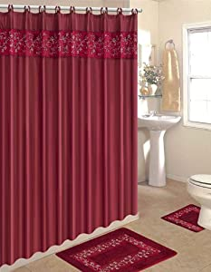 Home Dynamix HE15SV-248 Home Design Polyester 15-Piece Bathroom Set, Burgundy/Beige