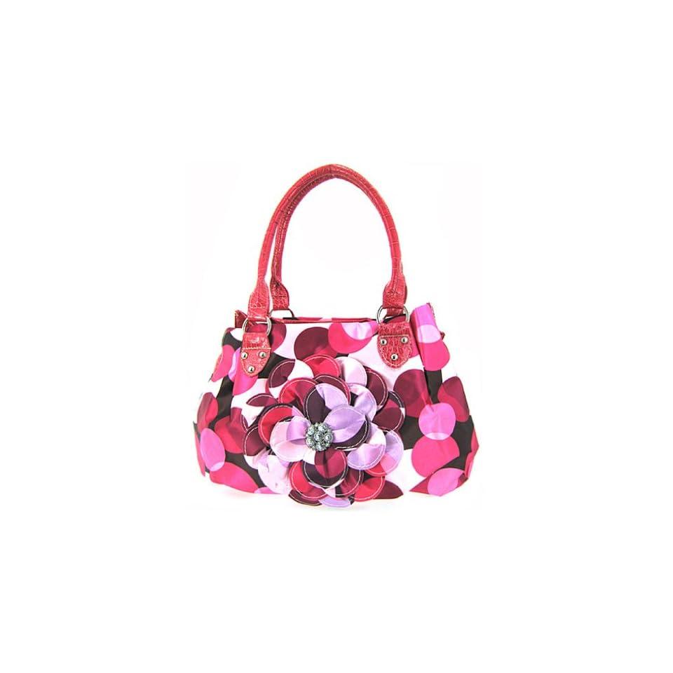 Cute Polkadot 3d Raised Flower Purse Hot Pink Polka Dot