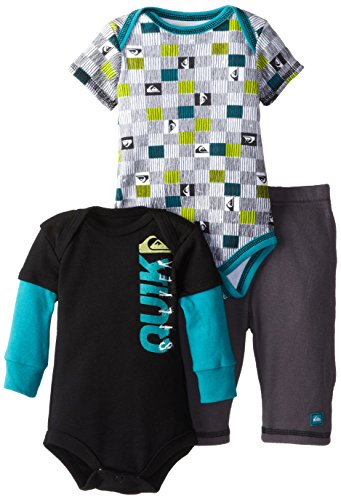 Quiksilver Babys Newborn Printed Short Twofer Black Long Sleeve Bodysuit And Pant, Multi, 3-6 Months front-218733