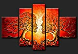 Cherish Art 100% Hand Painted Oil Paintings Gift Lovers Kiss Tree 5 Panels Wood Inside Framed Hanging Wall Decoration