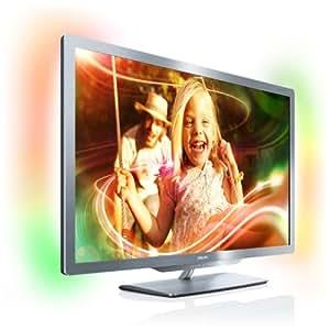 Philips 42PFL7606K/02 107 cm (42 Zoll) Ambilight 3D LED-Backlight-Fernseher (Full-HD, 400 Hz PMR, DVB-T/C/S, Smart TV) silbergrau