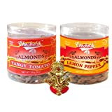 Chocholik Dry Fruits - Almonds Tangy Tomato & Lemon Pepper With Ganesha Idol - Diwali Gifts - 2 Combo Pack
