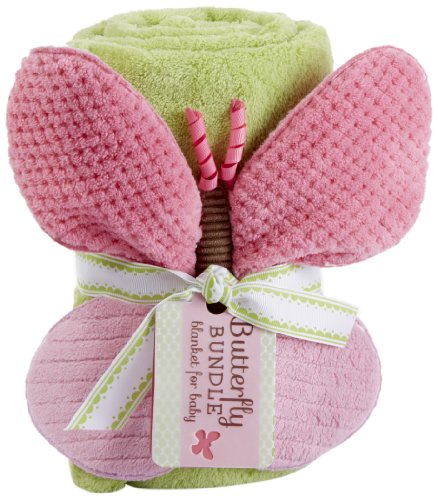 Baby Aspen, Butterfly Plush Velour Baby Blanket, Green/Pink, One Size (Discontinued by Manufacturer) - 1