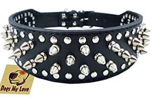"19""-22"" Black Faux Leather Spiked Studded Dog Collar 2"" Wide, 37 Spikes 60 Studs, Pitbull, Boxer"