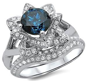 1.70ct Blue Round Diamond Lotus Flower Engagement Ring Bridal Set 14k White Gold