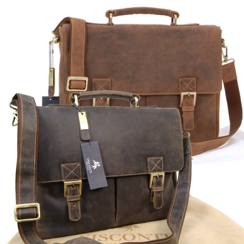Visconti Hunter Leather Briefcase Messenger Bag A4 - 18716 Berlin