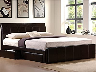 5ft Kingsize Black Faux Leather Storage Bed With 4 x Drawers