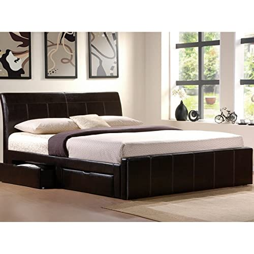 4ft6 Black Faux Leather Storage Bed With 4 x Drawers