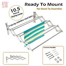 YT Wall Mounting Foldable Cloth Drying Rack cum Hanger 1.5 feet (45cmx11cmx19cm) Stainless Steel