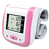 Automatic Wrist Blood Pressure Monitor Digital LCD Wrist Cuff Blood Pressure Meter Heart Beat Meter with Digital LED Display (Pink) (Color: Pink)