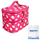 chinkyboo Rose Travel Organiser Makeup Bags Polka Dots Toiletry Beauty Purse Case Hand Holder Gift Cosmetic Bags