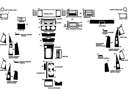 Rdash Dash Kit Decal Trim for Toyota Corolla 2003-2008 - Wood Grain (Burlwood Honey) (Wood Dash Kit For Corolla compare prices)