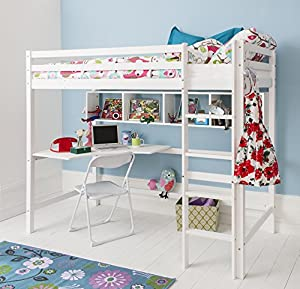 Shelving Unit in White for High Sleeper Cabin Bed
