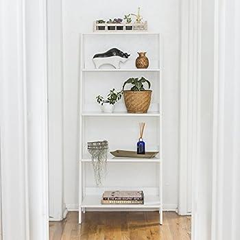 """WE Furniture 55"""" Wood Ladder Bookshelf - White"""