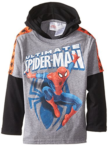 Marvel Little Boys' Spiderman Hooded Hangdown, Gray, 4 front-635901