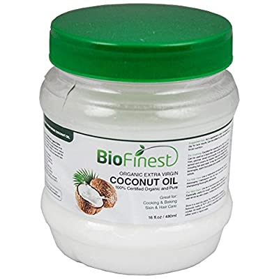 100% Organic Extra Virgin Coconut Oil - Unrefined & Cold-Pressed - FREE Recipe EBook - Best For Cooking, Baking, Soothing Skin & Hair Moisturizer - 1Lb (16 Oz)