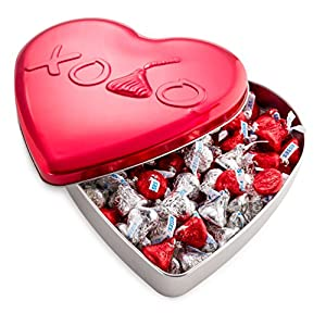 Happy Valentines Kisses, Gourmet Hershey's Milk Chocolate Red And Silver Kisses In Heart Shaped Tin, The Most Classic Valentine Gift for Your Boyfriend, Girlfriend, Husband, Wife, Mom, or Anyone You Love