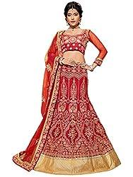 Silvermoon women's Banglore Silk Embroidered heavy lehenga choli-sm_MIRNA77_Red_free size