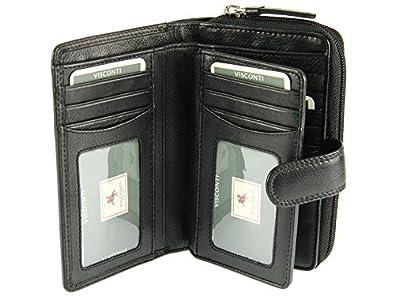 Visconti Ladies Women's Large Multi Compartment Soft Leather Purse / Wallet (Black)