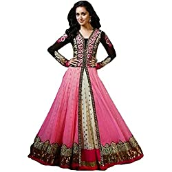 S4S Georgette Embroidered Semi-stitched Salwar Suit Dupatta Material (Pink)