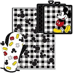 Disney Mickey Pie Kitchen Towel Set Black White [3-Piece Set]