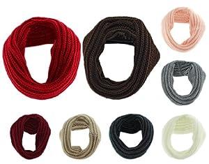 BONAMART ® Marrón Unisex Infinity Scarf invierno caliente 1 Círculo de punto de mezcla de lana Cowl mantón de la bufanda del lazo en BebeHogar.com