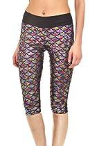 LOV ANNY Women's Leggings Capri Scale Print Cropped Tight Thin Multicolour S