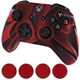 FIOTOK New Silicone Cover Case Skin Controller & Grip Stick Caps for Xbox One(camouflage Red Black)