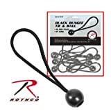 6'' Black Bungee Tie and Ball - 10/pk