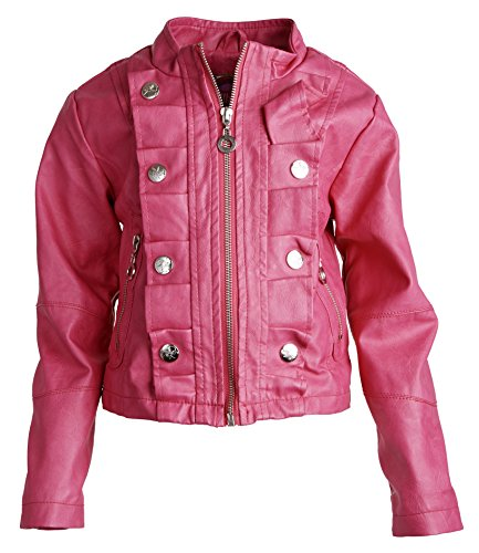 Dollhouse Baby Girls Moto Leather Look Zippered Trench Rain Spring Jacket - Magenta (24 Months)