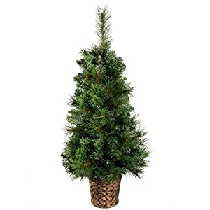 WeRChristmas 3 ft Victorian Pine Christmas Tree in a Gold Resin Pot