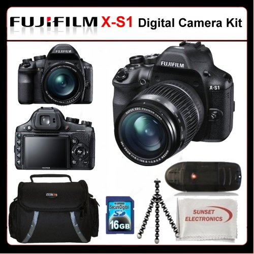 Fujifilm X-S1 Kit Includes: Fujifilm XS1 Digital Camera, 16GB SDHC Memory Card, Memory Card Reader, Gripster Tripod, Soft Carrying Case, SSE Microfiber Cleaning Cloth