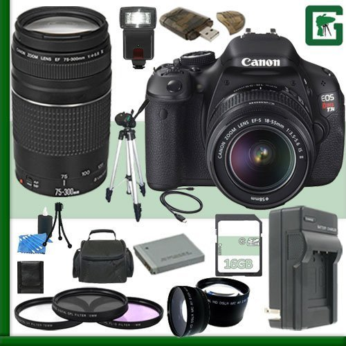 Canon EOS Rebel T3i Digital SLR Camera Kit with 18-55mm IS II Lens and Canon EF 75-300mm III Lens + 16GB Green's Camera Package