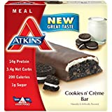 Atkins Advantage MEAL, Cookies n' Creme Bar, 5 Bars, 1.8 oz (50 g) Each