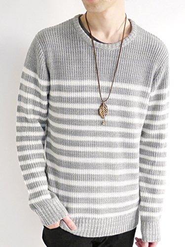 (モノマート) MONO-MART パネルボーダー 厚手 ニット セーター クルーネック ラーベン編み ニットソー ビジネス モード メンズ グレー Mサイズ