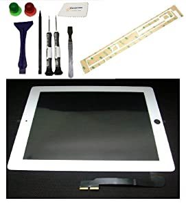 Ipad 3 Digitizer Glass Screen Kit White - Includes High Quality Opening Tools 7p, Adhesive Tape, Zeetron Microgiber Cloth